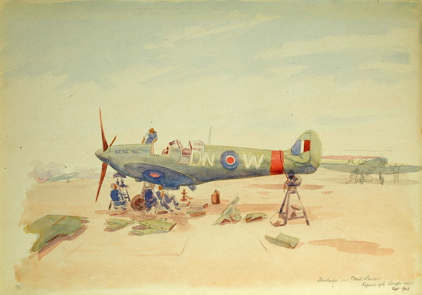 Artist Henry C. O Donnell: Crash Landed, repairs after Dieppe Raid, sept 1942