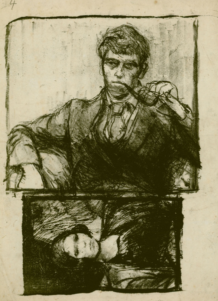 Artist Francis Spear: Self Portrait, mid 1920s, with portrait of a young woman below