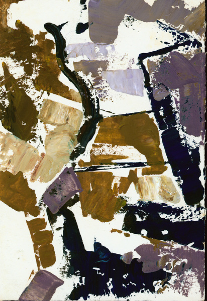 Artist John Cecil Stephenson: Abstract in blue, brown and mauve