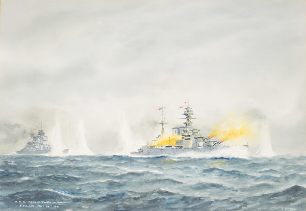 Artist Eric Erskine Campbell Tufnell: H.M.S.Hood & Prince of Wales 5.30 am 24 May 1941