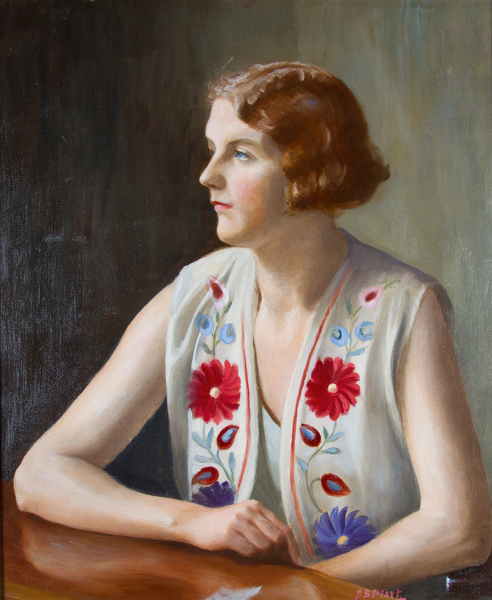 Artist Captain J.B. Peart: Portrait of the writer and illustrator Marian Ada. Peart, circa 1930
