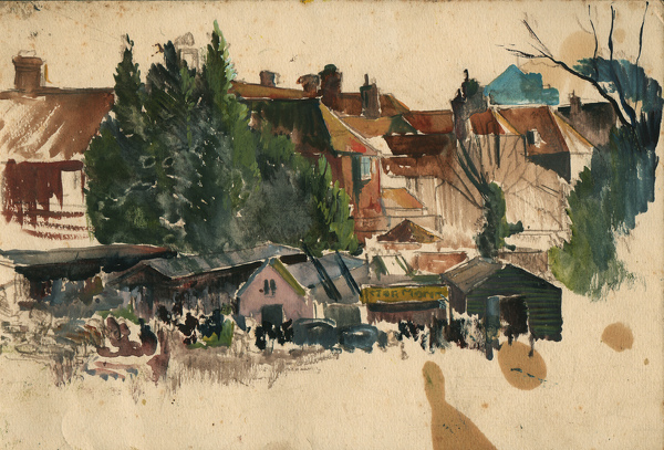 Artist Charles Cundall: Garage behind town houses