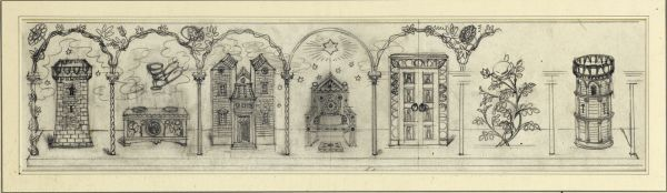 Artist Charles Mahoney: The Emblems of the Virgin, design for Campion Hall altarpiece, circa 1941