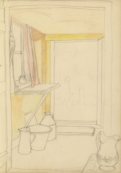 Artist Clare Leighton: Pantry with view through back door.