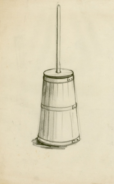Artist Clare Leighton: Study of a butter churn