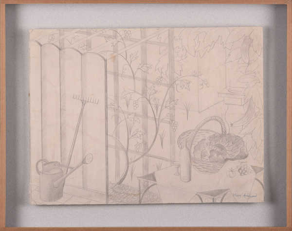 Artist Mary Adshead: Still life with Trellis Watering Can and Rake