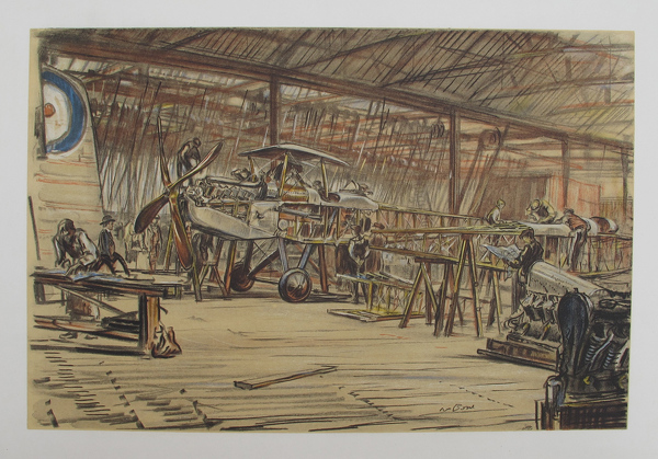 Artist Muirhead Bone: Erecting Aeroplanes - an RE8, 2-seater reconnaissance plane being built at the Coventry Ordnance Works, February 1917.