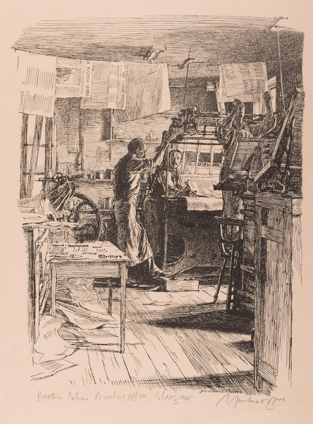 Artist Muirhead Bone: Brother Johns Printing Office, Glasgow