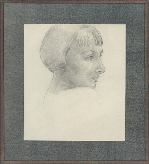 Artist Percy Horton: Profile portrait of a girl, head and shoulders, late 1920s