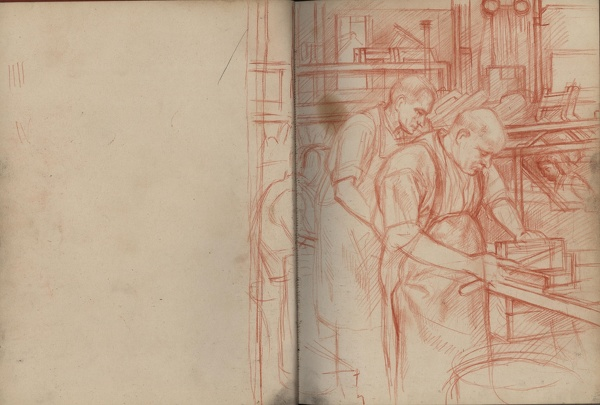 Artist Percy Horton: Study for Blind Workers in a Birmingham Factory, c.1942