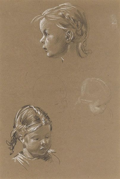 Artist Raymond Sheppard: Sheet with two portraits of Christine, one profile one 3/4 view circa 1951