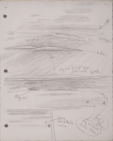 Artist Sir Thomas Monnington: Study with colour notes for Clouds and Spitfires, circa 1943