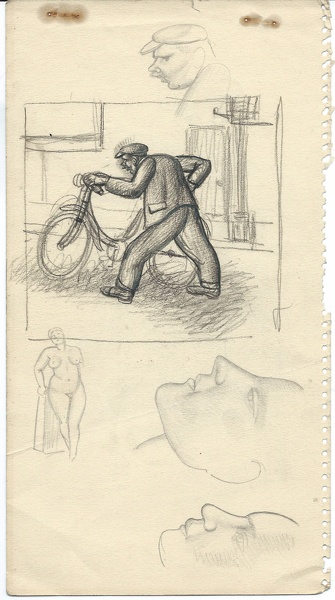Artist Stanley Lewis: Man pushing a bicycle, 1920s