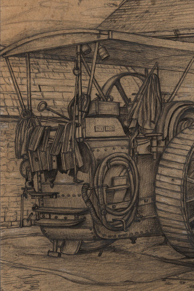 Artist Stanley Lewis: Study of a traction engine