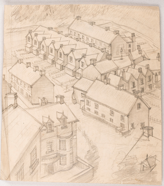 Artist Stanley Lewis: Terraced houses, Carmarthen