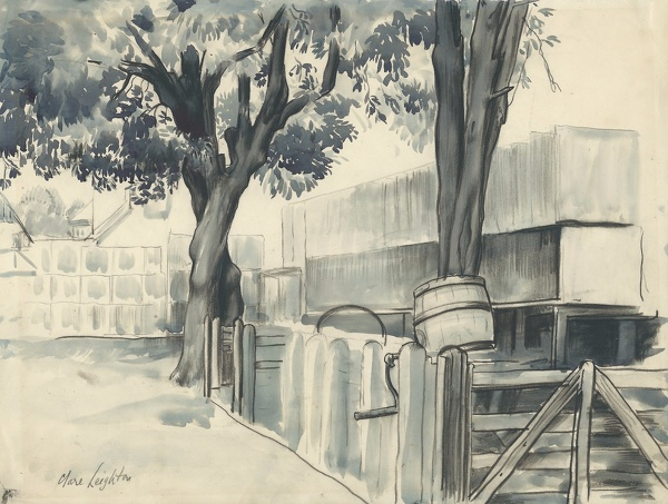 Artist Clare Leighton: French landscape with tree, fence and barrel, circa 1920s