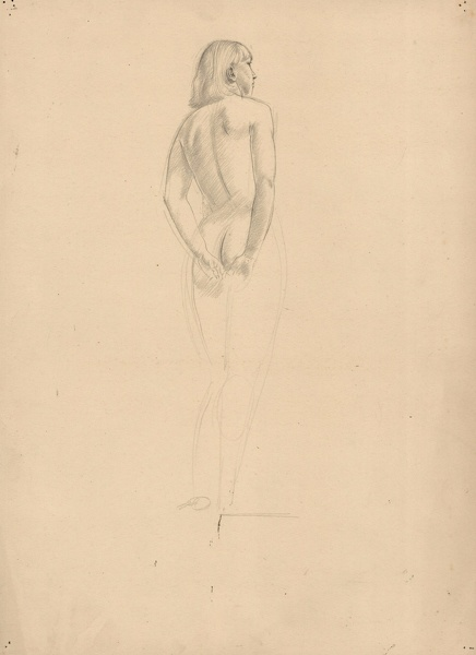 Artist Winifred Knights: Full length, three quarter rear view model, probably Eileen, the artists sister, circa 1918