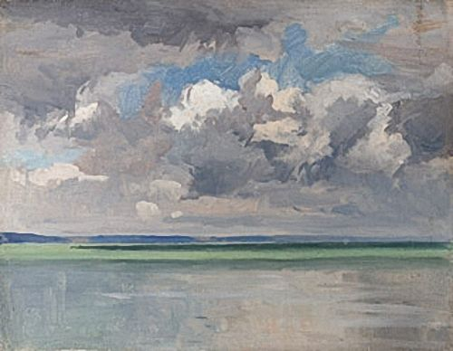 Artist Norman Wilkinson: Cloud study over estuary view, mid 1930s