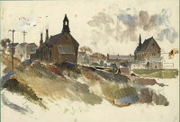 Artist Charles Cundall: View of the village