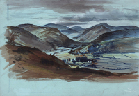 Artist Alan Sorrell: Mountain Landscape (recto), A modern church building at Hadleigh (verso)