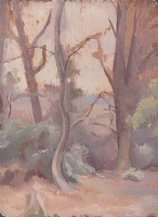 Artist Percy Horton: Plein air scetch of trees, c.1925