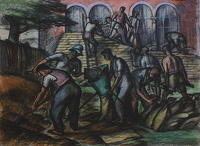 Artist Alan Sorrell: Men Sandbagging, 1939