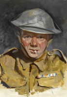 Artist English School: Soldier with WWI decorations, late 1930s