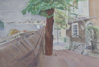 Artist James Wood: Hammersmith Wharf, circa 1950