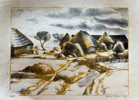 Artist Francis Spear: Stream and Haystacks, printed in yellow, 1933