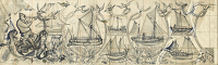 Artist Alan Sorrell: Study in two sheets for Working Boats, Mural of the Nelson Bar, HMS Campania, 1951