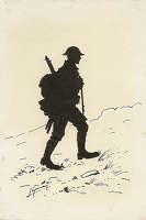 Artist English School: Silhouette of a Tommy in marching order., circa 1915