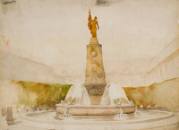 Artist Charles Cundall: The Meta Sudans in Rome as a War Memorial, early 1920s