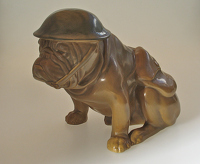 Artist English School: British bulldog in the uniform and tin hat of a First World War Tommy