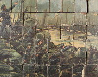 Artist English School: Block Puzzle of a First World War French battle scene
