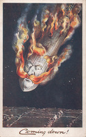 "Artist English School: British postcard Coming down! Image of ""Kaiser Bill"" in the guise of a Zeppelin, coming down in flames"