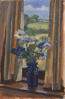 Artist Alan Sorrell: Study with Shasta Daisies in a Blue Vase