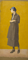 Artist Nora Yoxall: Standing figure, full length three-quarter view, circa 1920