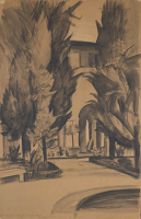 Artist Alan Sorrell: The Courtyard of The Britisch School, Rome, Aug 1937