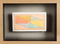 Artist Sir Thomas Monnington: Design on a prism in orange, yellow, grey and green, circa 1970