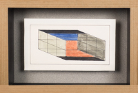 Artist Sir Thomas Monnington: Design on a prism in black, grey, blue and red