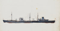 Artist Charles Cundall: A Royal Fleet Auxiliary oil tanker of the Wave class, circa 1942