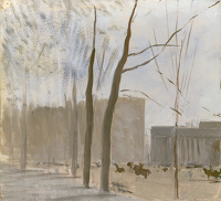 Artist Charles Cundall: Study of Apsley gate from Hyde Park London
