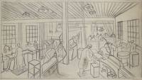 Artist Archibald Ziegler: Interior of Engineering workshop, circa 1930