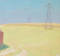 Artist Hubert Arthur Finney: Pylons and corn fields, circa 1930