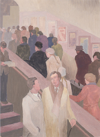 Artist Hubert Arthur Finney: Underground commuters on an escalator, circa 1930