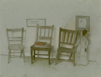 Artist Jehan Daly: A corner of the artists studio with lay figure and three chairs
