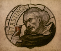 Artist English School: Design for a stained glass window - Tasting, cirac 1900