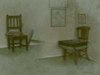 Artist Jehan Daly: A corner of the the studio, 1989