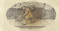 Artist Evelyn Dunbar and Charles Mahoney: Design for page, man with bouquet Gardeners Choice 1937