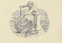 Artist Evelyn Dunbar and Charles Mahoney: Vignette design of a woman hammering in a stake for Gardeners' Choice